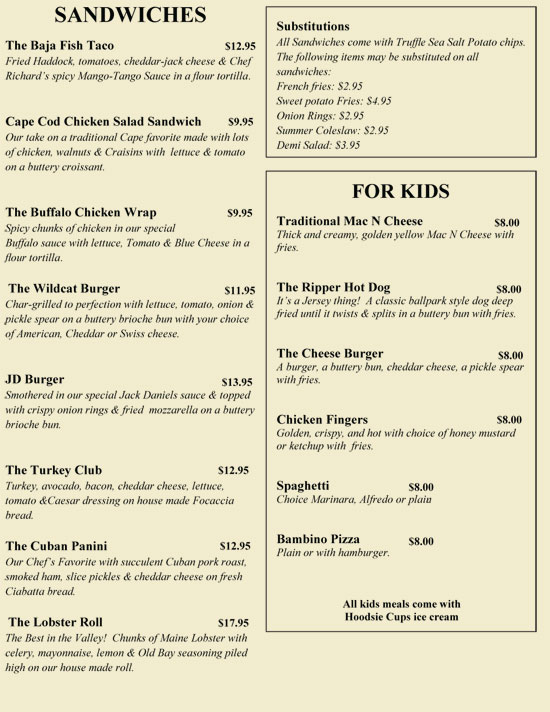 Wildcat Inn & Tavern lunch menu