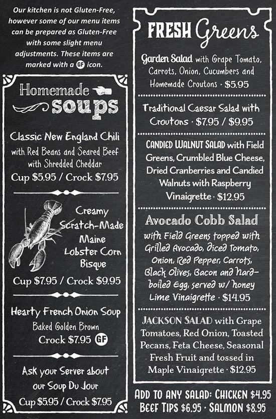 Wildcat Tavern Sample Dinner Menu