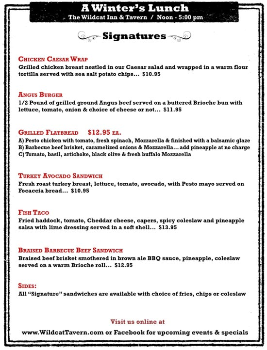 Sample Lunch Menu - Wildcat Inn And Tavern