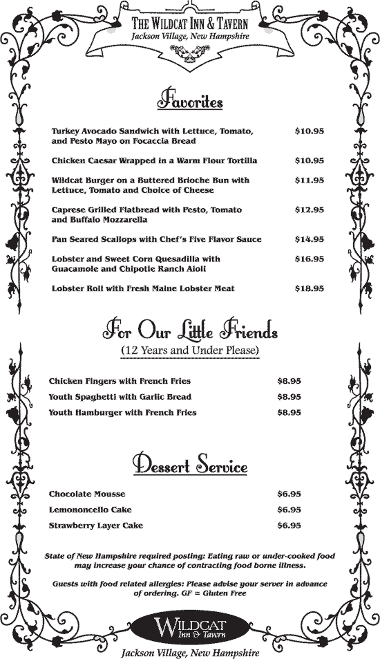 Wildcat Tavern Dinner Menu