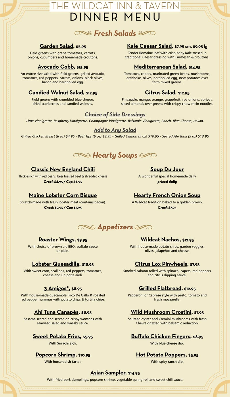 Wildcat Tavern Dinner Menu