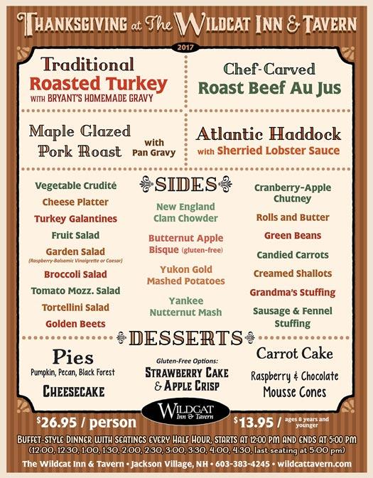 Thanksgiving menu at the Wildcat Tavern