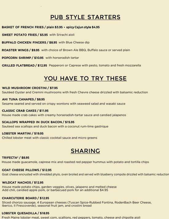Wildcat Tavern Summer Dinner Menu