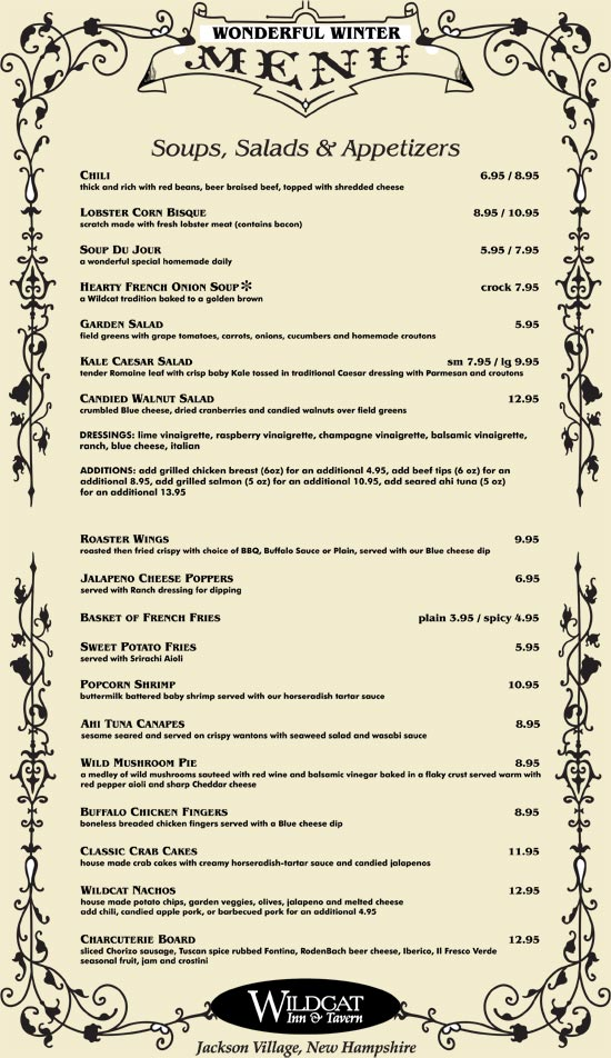 Wildcat Tavern Winter Dinner Menu