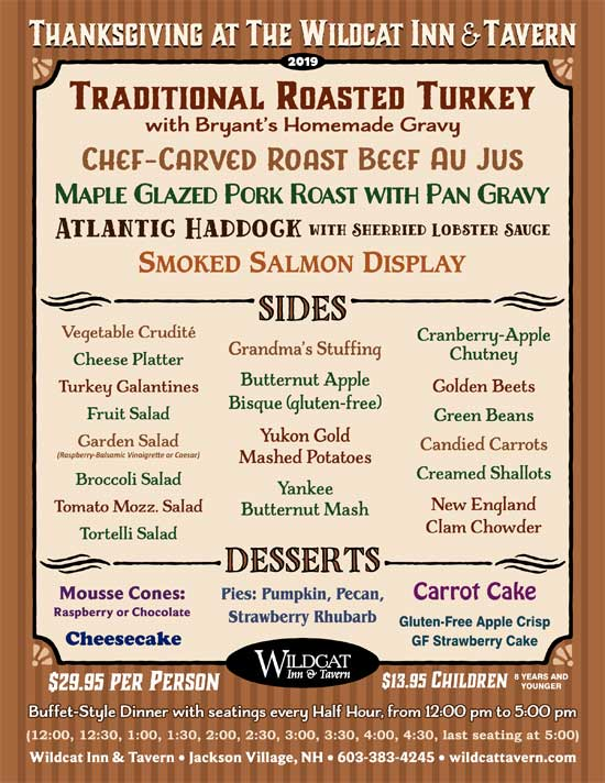 Wildcat Tavern Thanksgiving Dinner Menu
