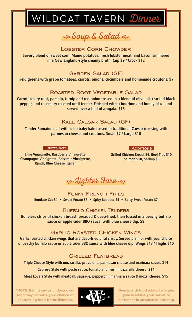 Wildcat Inn & Tavern Dinner Menu